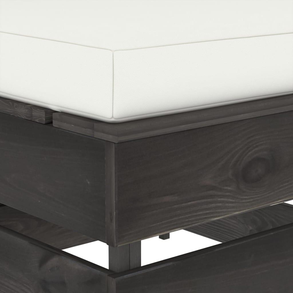 Hocker sectioneel met kussen grijs geïmpregneerd hout