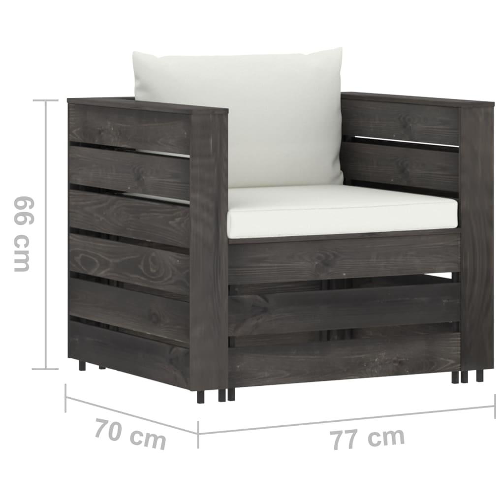 2-delige Loungeset met kussens grijs geïmpregneerd hout