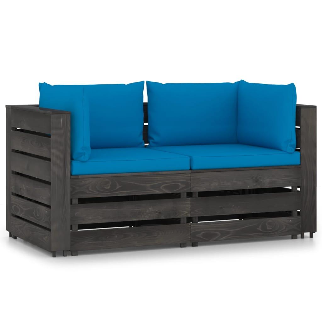 vidaXL Tuinbank 2-zits met kussens grijs geïmpregneerd hout