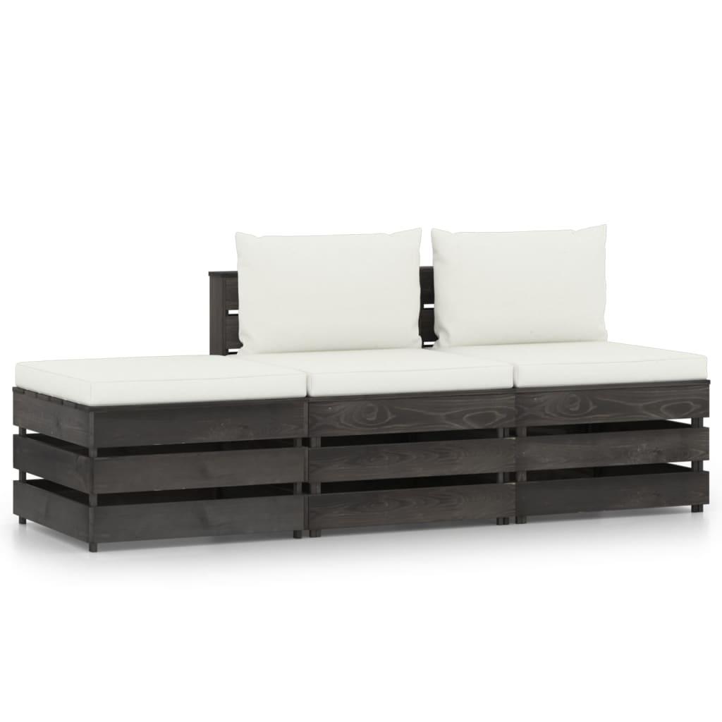3-delige Loungeset met kussens grijs geïmpregneerd hout