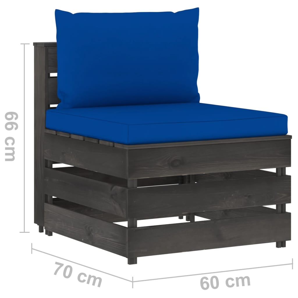 vidaXL 3-delige Loungeset met kussens grijs geïmpregneerd hout