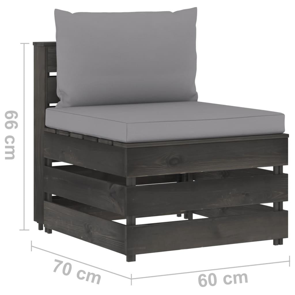 4-delige Loungeset met kussens grijs geïmpregneerd hout