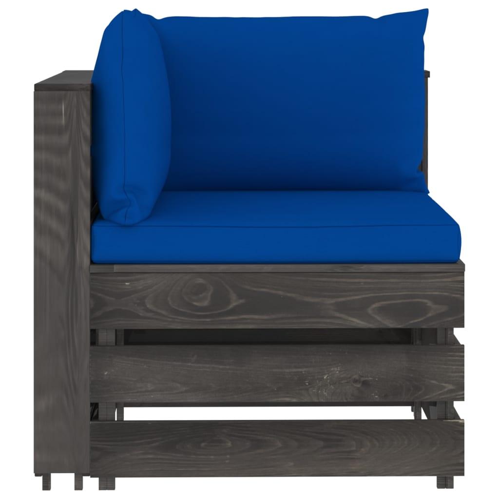 vidaXL 4-delige Loungeset met kussens grijs geïmpregneerd hout