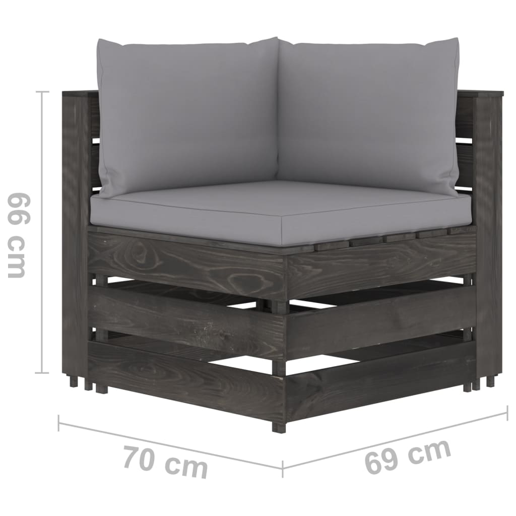 5-delige Loungeset met kussens grijs geïmpregneerd hout