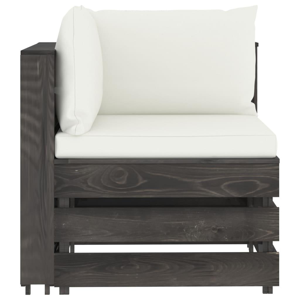 vidaXL 5-delige Loungeset met kussens grijs geïmpregneerd hout
