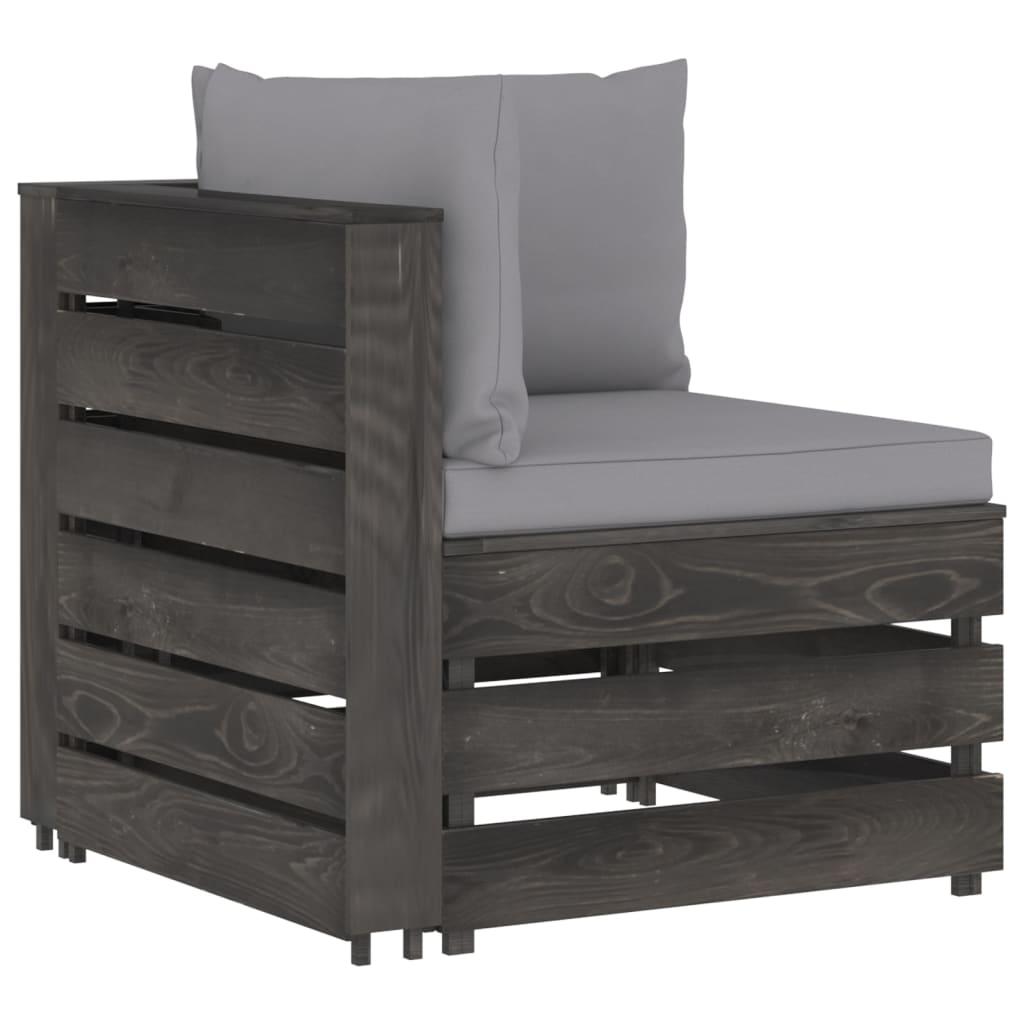 vidaXL 6-delige Loungeset met kussens grijs geïmpregneerd hout