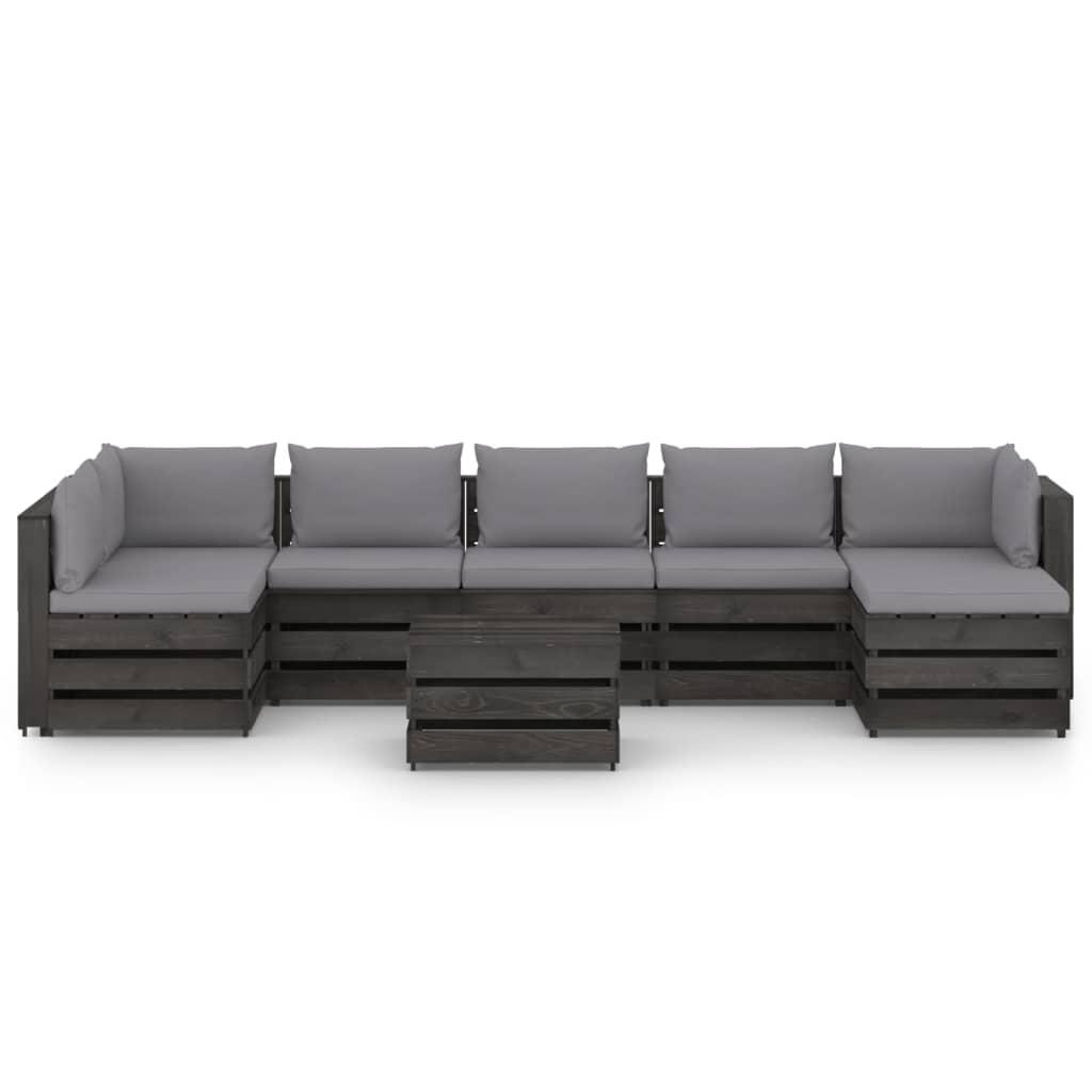 8-delige Loungeset met kussens grijs geïmpregneerd hout