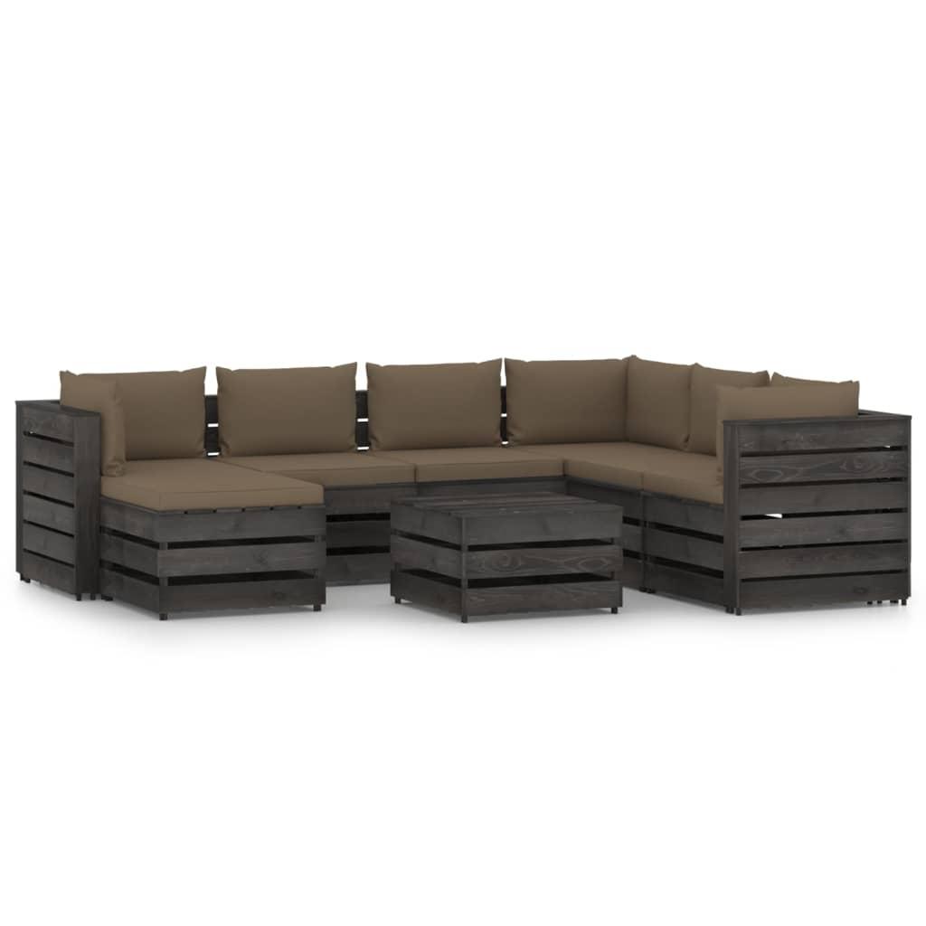 vidaXL 8-delige Loungeset met kussens grijs geïmpregneerd hout