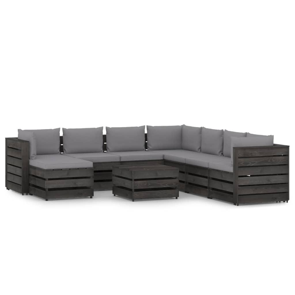vidaXL 9-delige Loungeset met kussens grijs geïmpregneerd hout