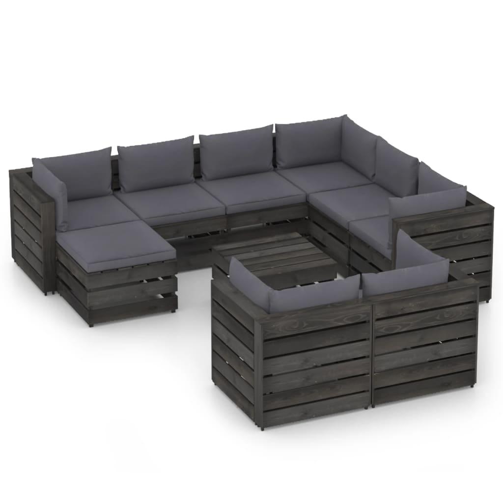 10-tlg. Garten-Lounge-Set mit Kissen Grau Imprägniertes Holz