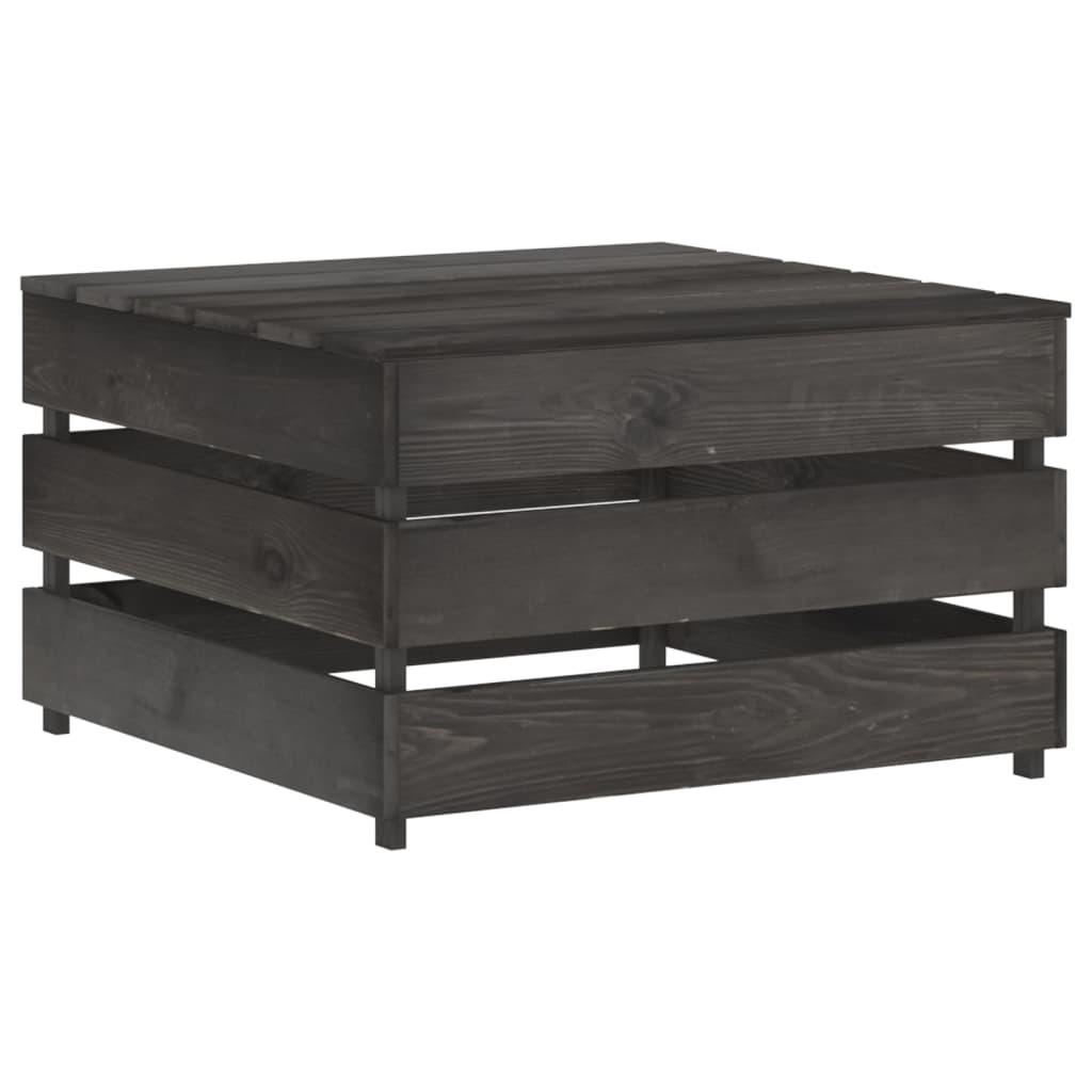 12-delige Loungeset met kussens grijs geïmpregneerd hout