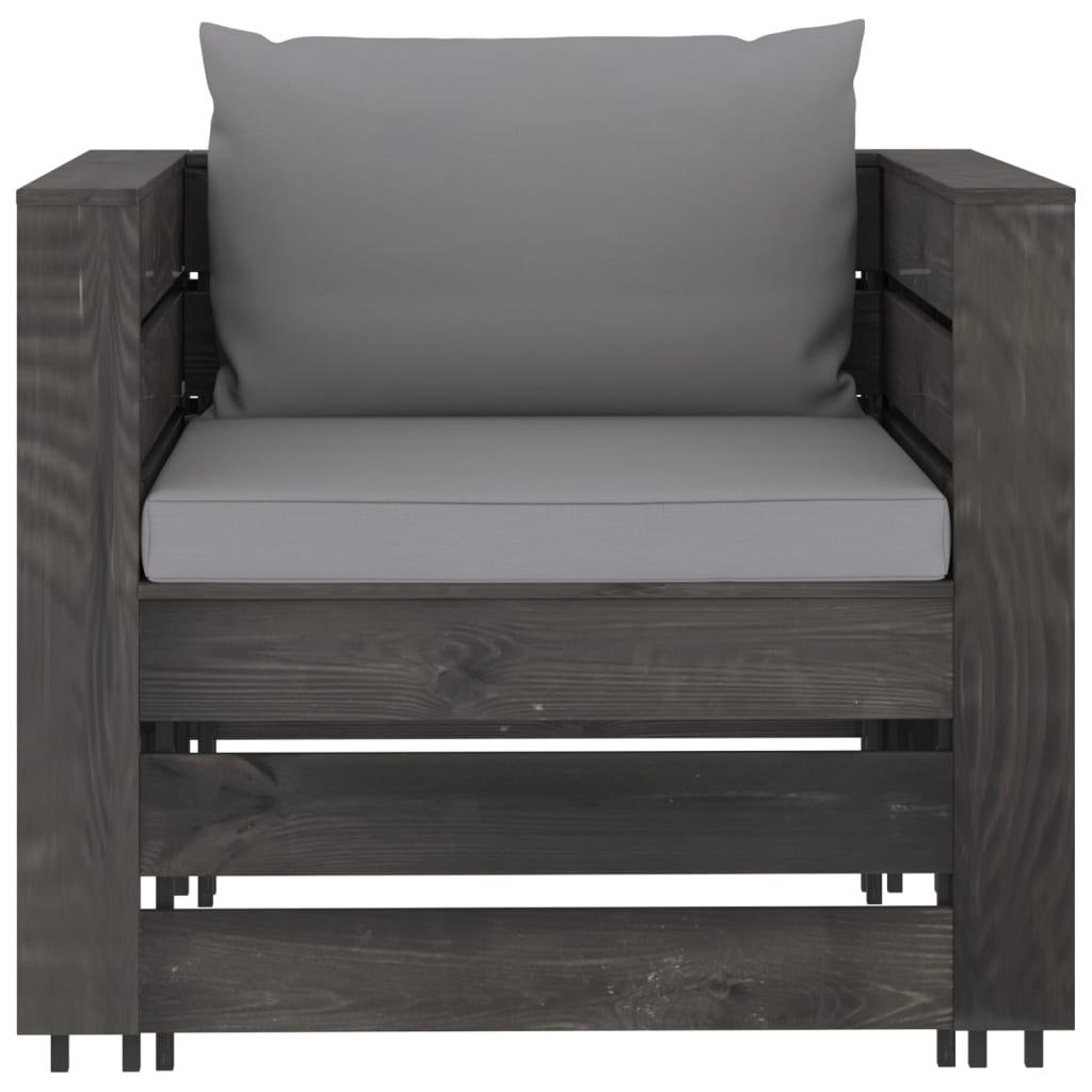 6-delige Loungeset met kussens grijs geïmpregneerd hout