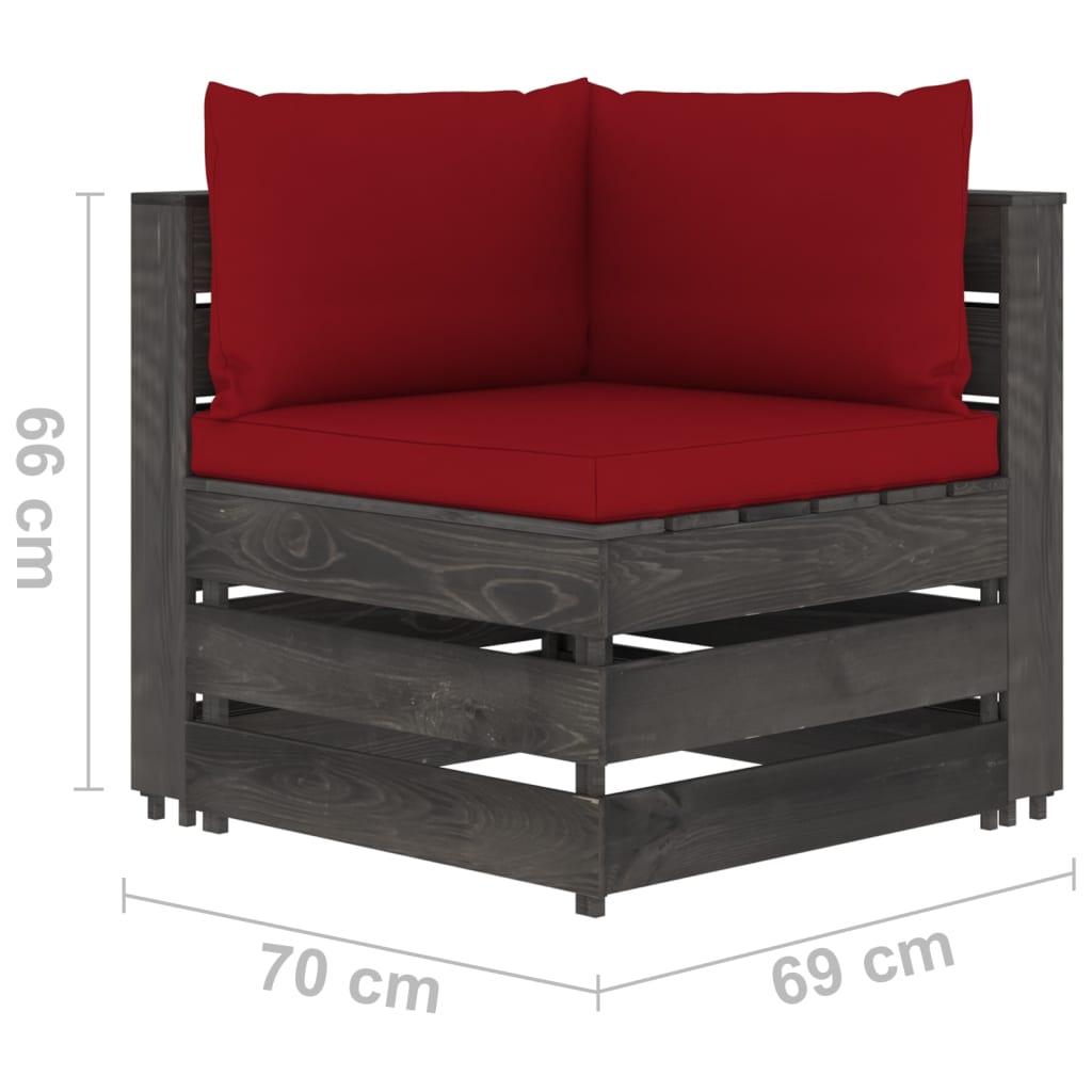 7-delige Loungeset met kussens grijs geïmpregneerd hout