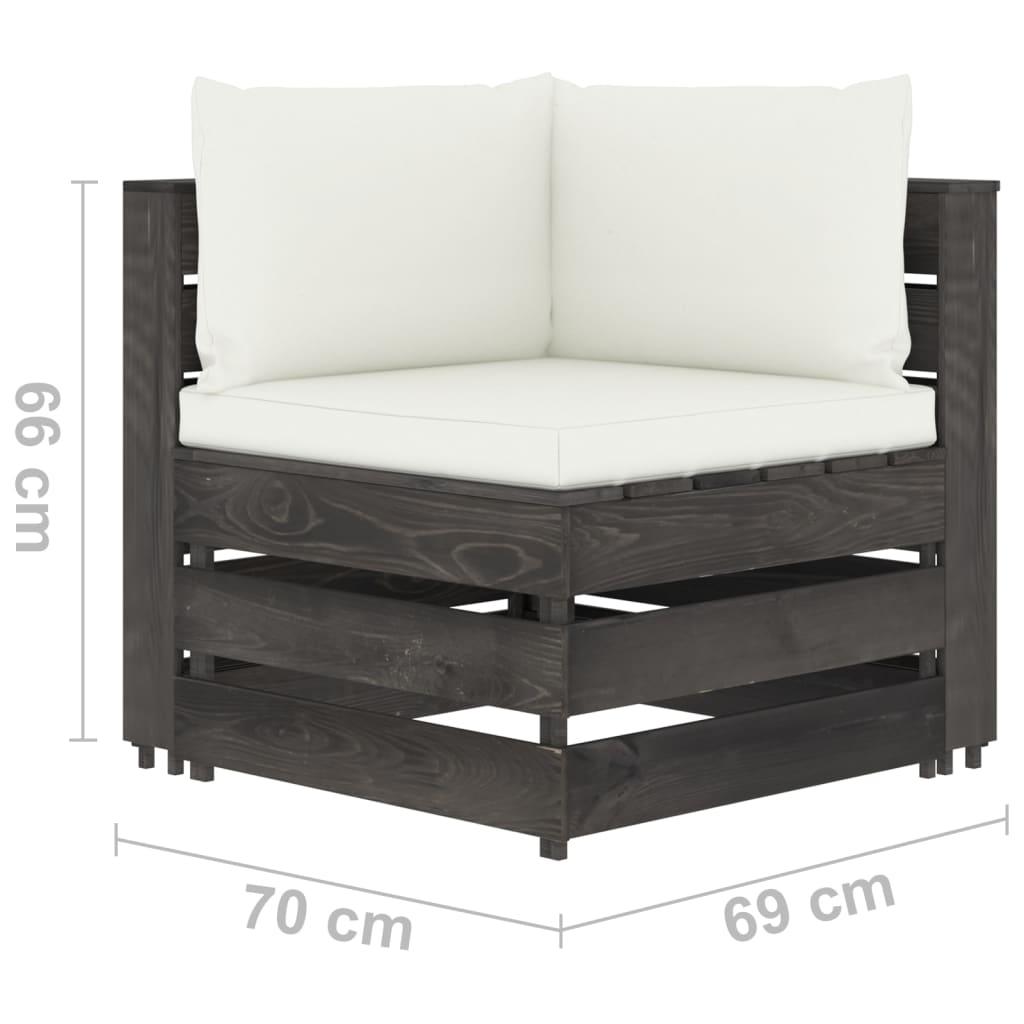 vidaXL 12-delige Loungeset met kussens grijs geïmpregneerd hout