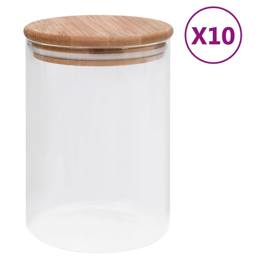 vidaXL Skleněné dózy s bambusovým víčkem 10 ks 260 ml