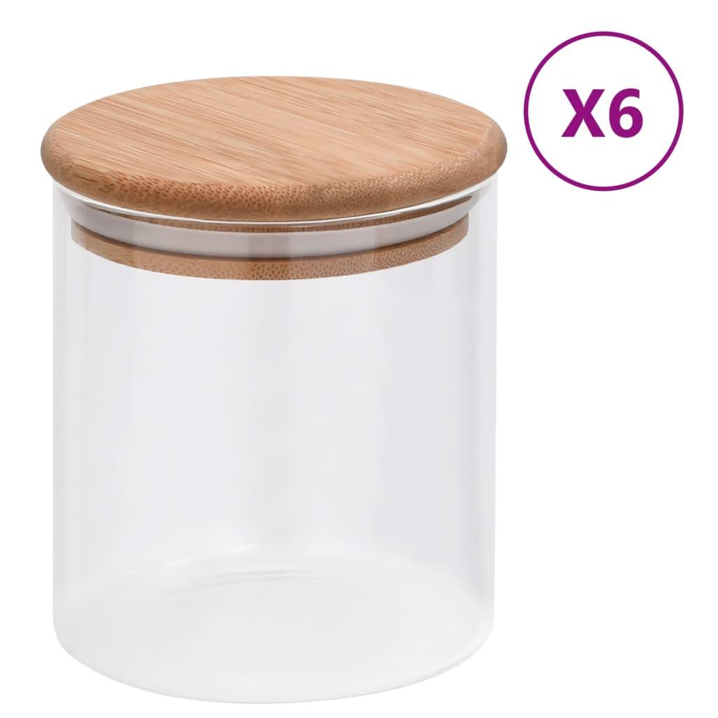 vidaXL Skleněné dózy s bambusovým víčkem 6 ks 600 ml