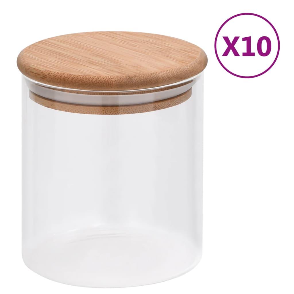 vidaXL Skleněné dózy s bambusovým víčkem 10 ks 600 ml