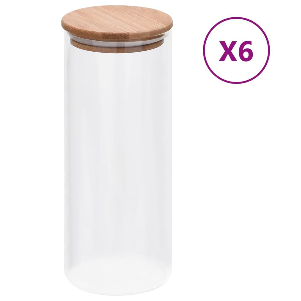 vidaXL Skleněné dózy s bambusovým víčkem 6 ks 1000 ml