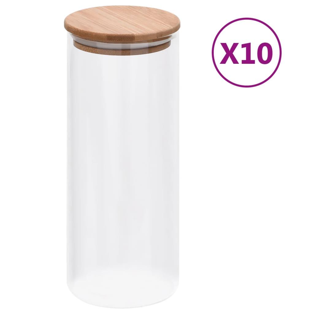 vidaXL Skleněné dózy s bambusovým víčkem 10 ks 1000 ml