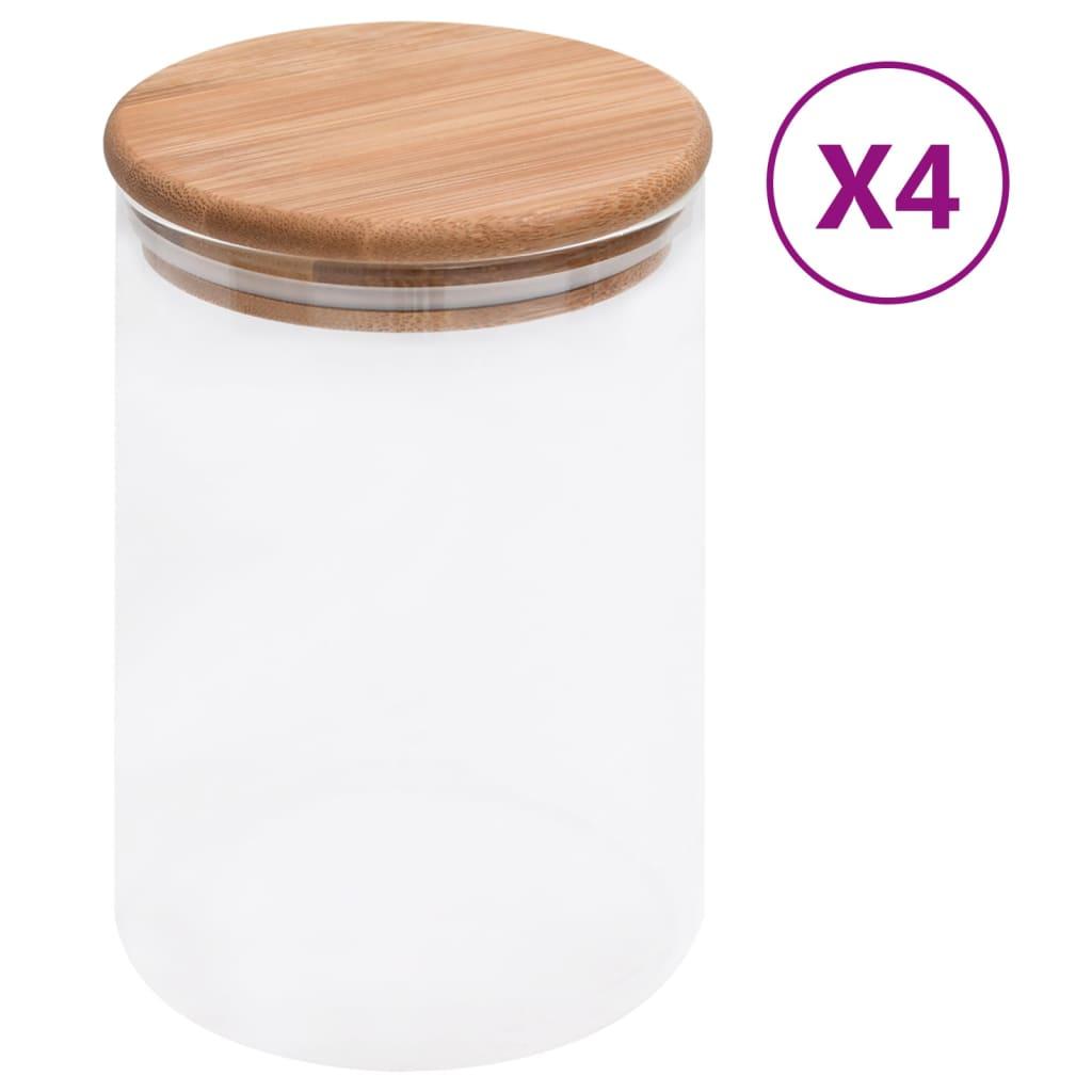 vidaXL Skleněné dózy s bambusovým víčkem 4 ks 800 ml