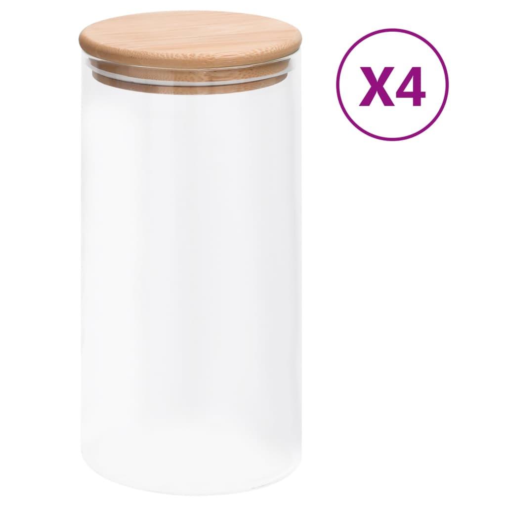 vidaXL Skleněné dózy s bambusovým víčkem 4 ks 1200 ml