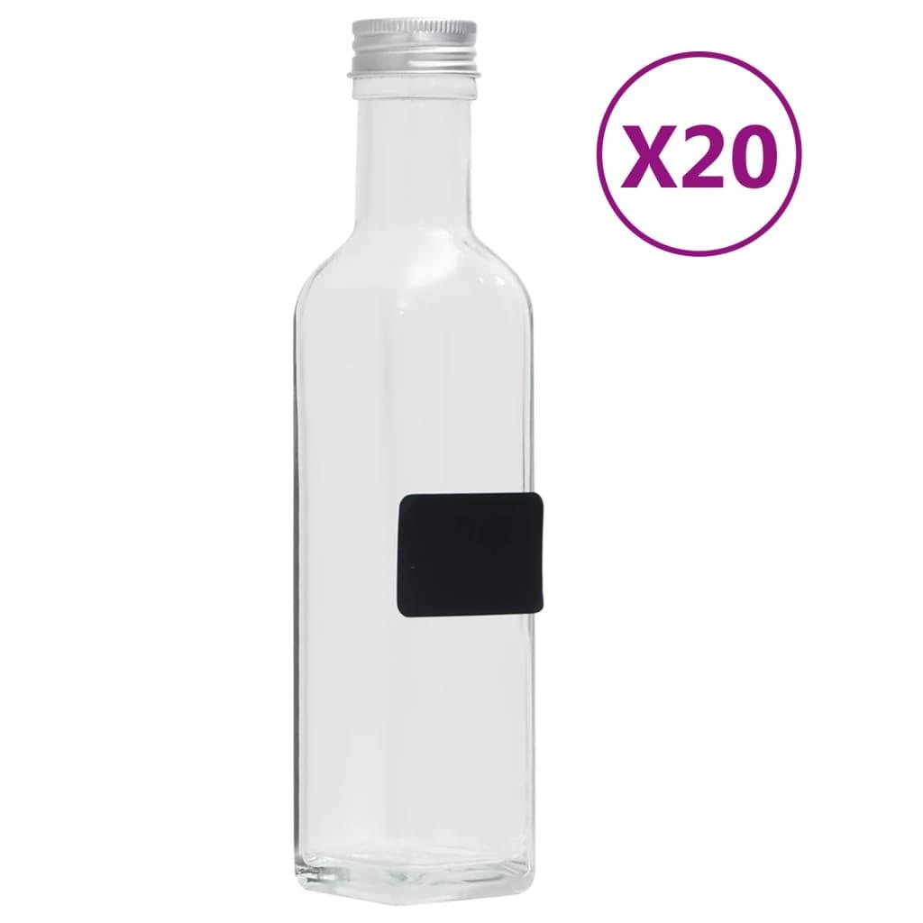 vidaXL Skleněné láhve se šroubovým uzávěrem 20 ks čtvercové 250 ml