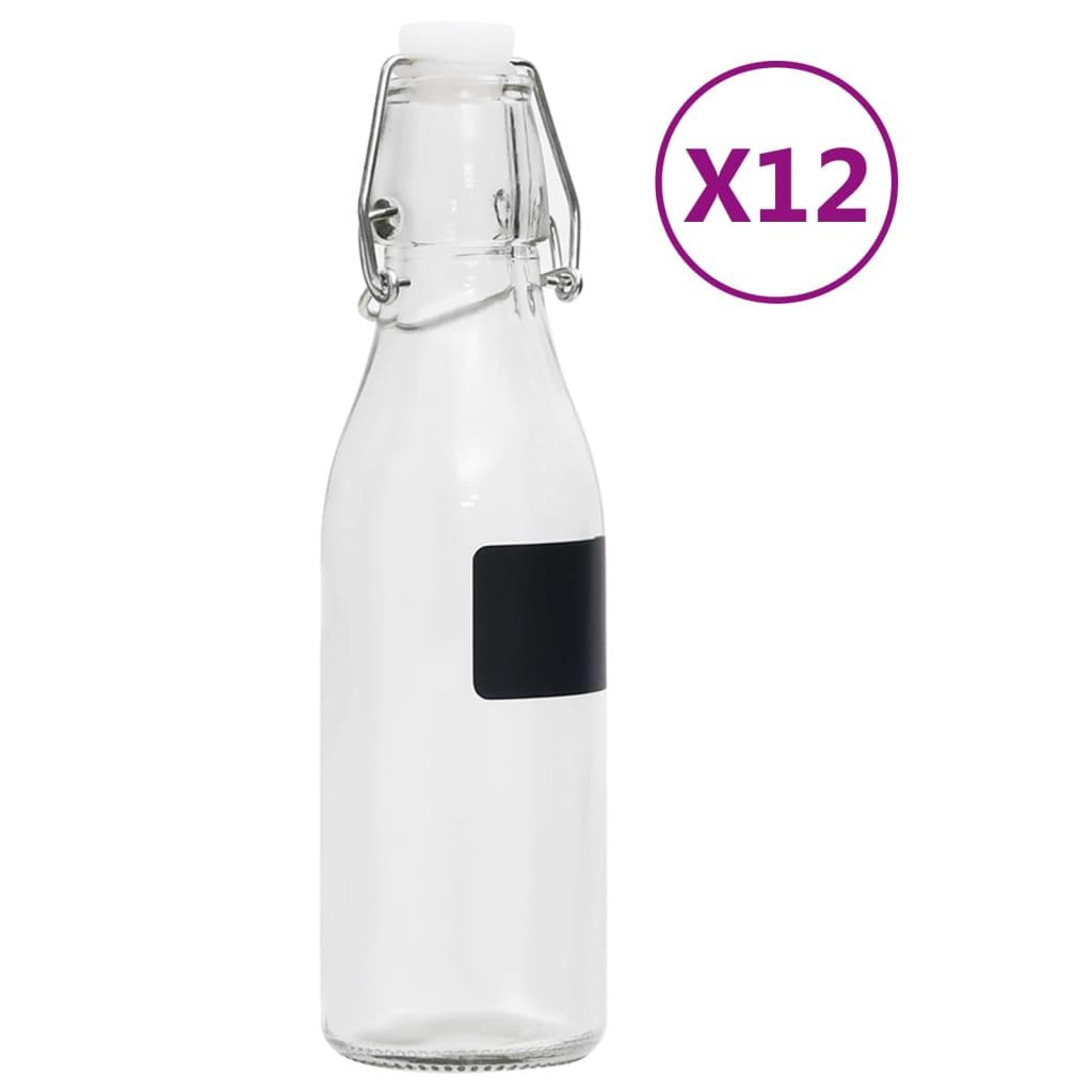 Skleněné láhve s pákovým uzávěrem 12 ks kulaté 250 ml