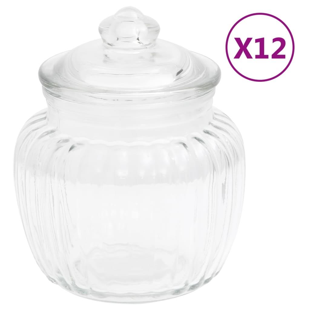 vidaXL Dózy na potraviny 12 ks 500 ml sklo