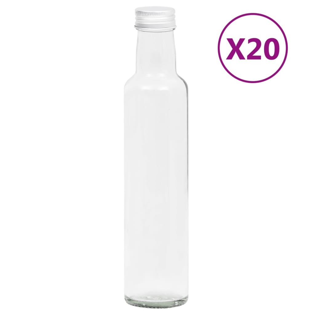 vidaXL Malé skleněné láhve 260 ml se šroubovým uzávěrem 20 ks