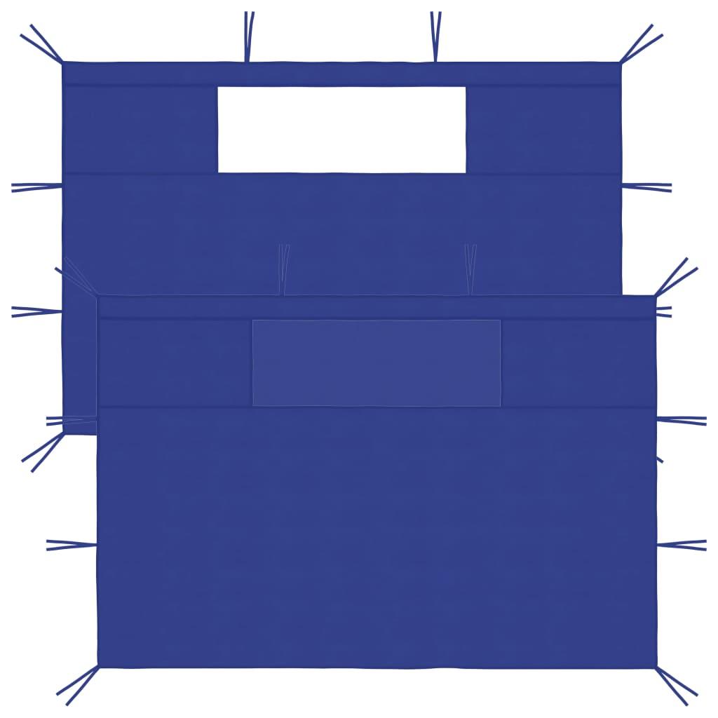 Boční stěny k party stanu s okny 2 ks modré