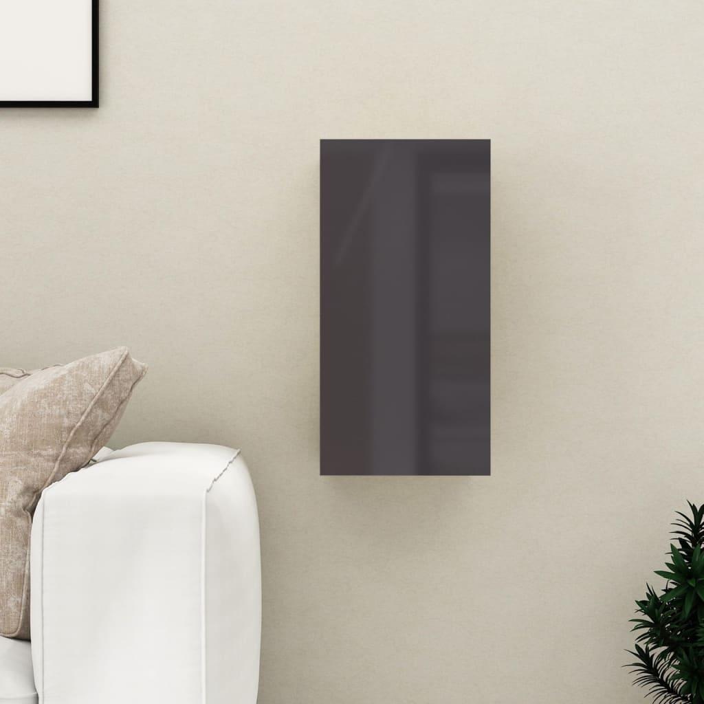 TV stolek šedý s vysokým leskem 30,5x30x60 cm dřevotříska