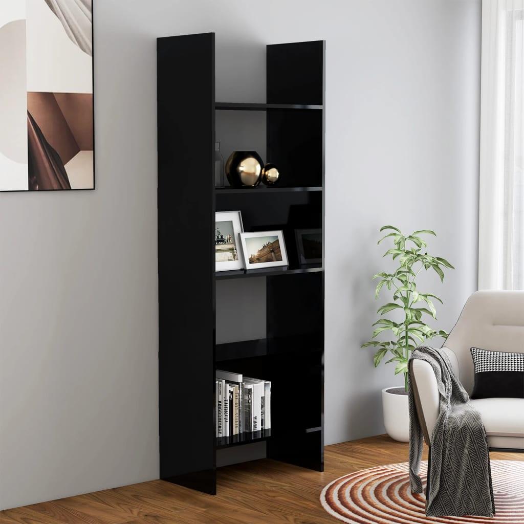Ormarić za knjige visoki sjaj crni 60 x 35 x 180 cm od iverice