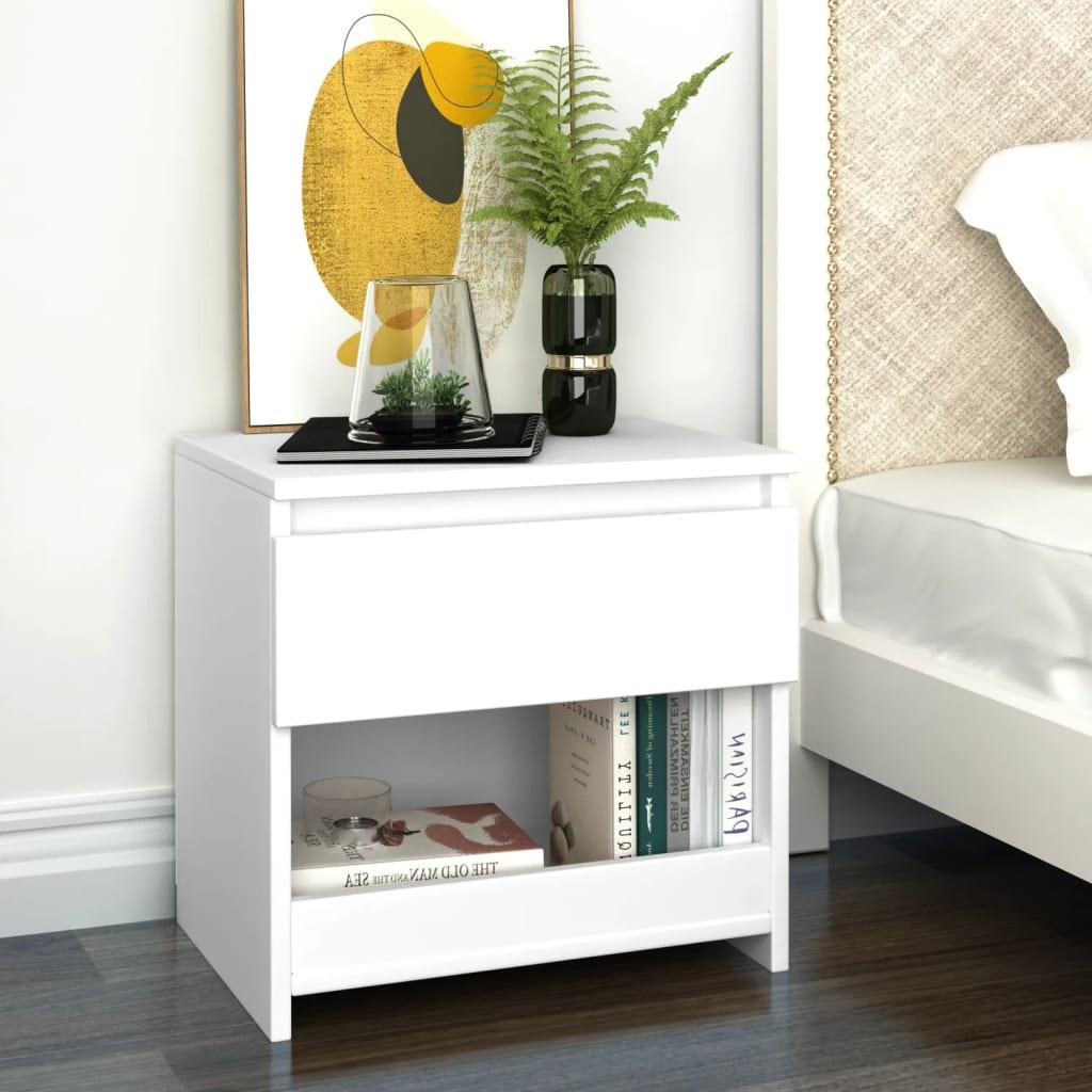 Noční stolek bílý 40 x 30 x 39 cm dřevotříska