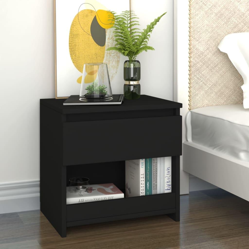 Noční stolek černý 40 x 30 x 39 cm dřevotříska