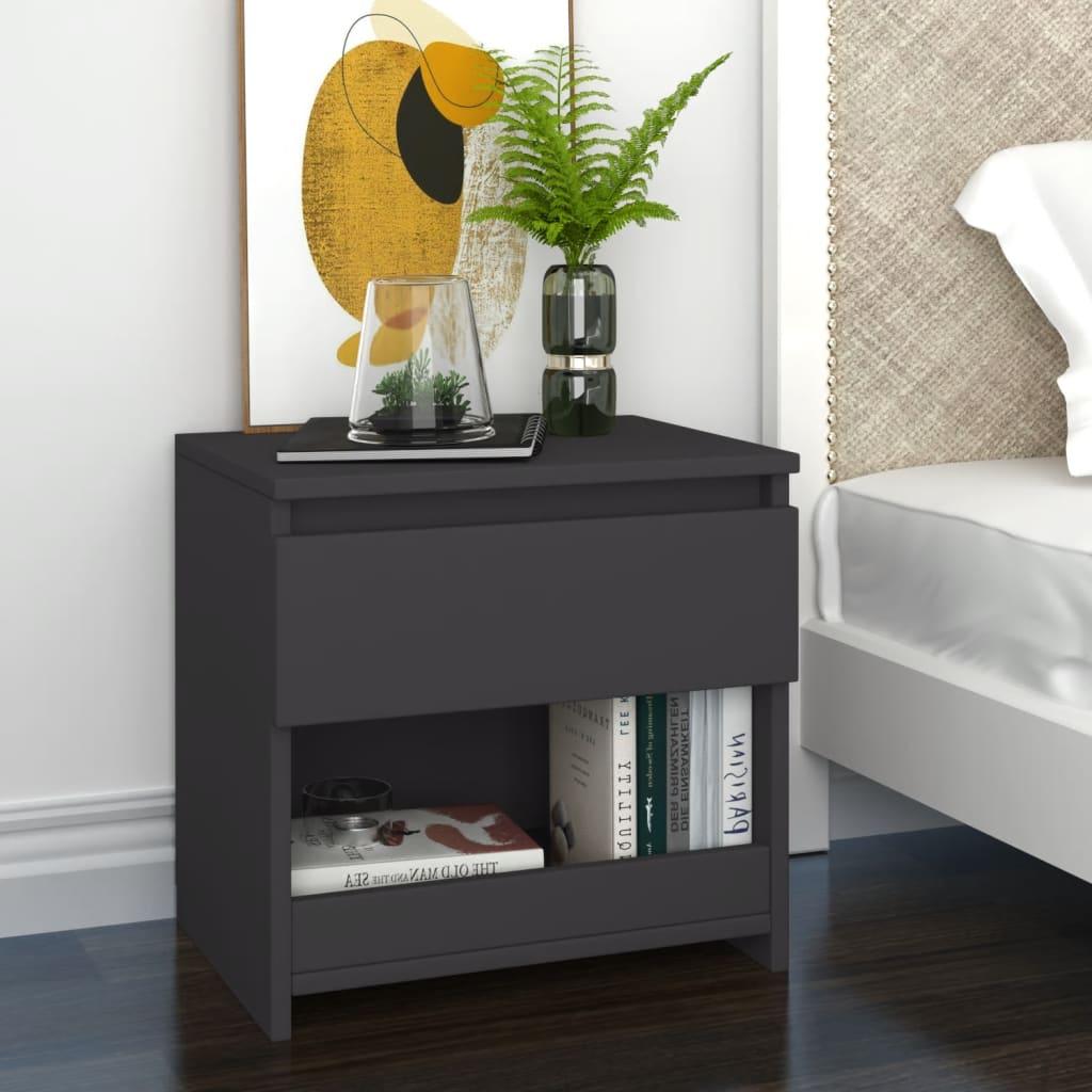 Noční stolek šedý 40 x 30 x 39 cm dřevotříska