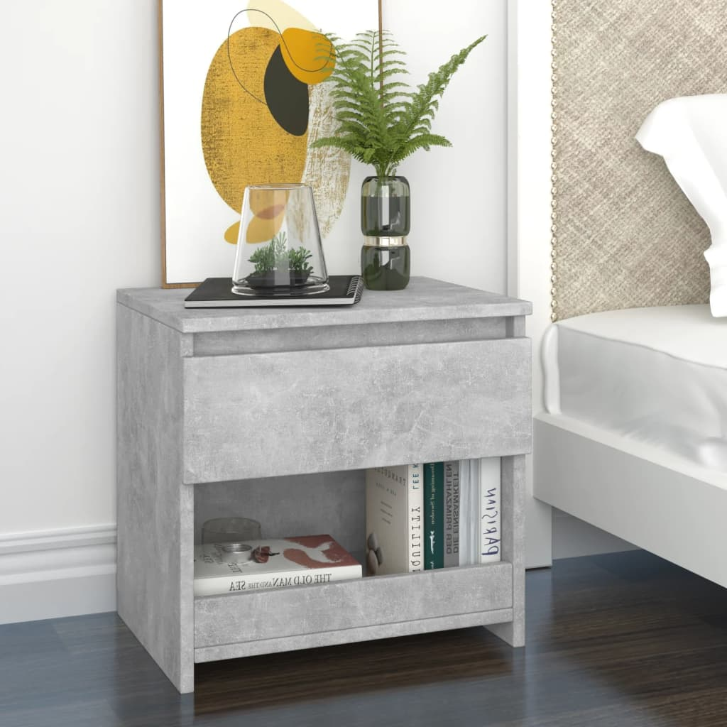 Noční stolek betonově šedý 40 x 30 x 39 cm dřevotříska
