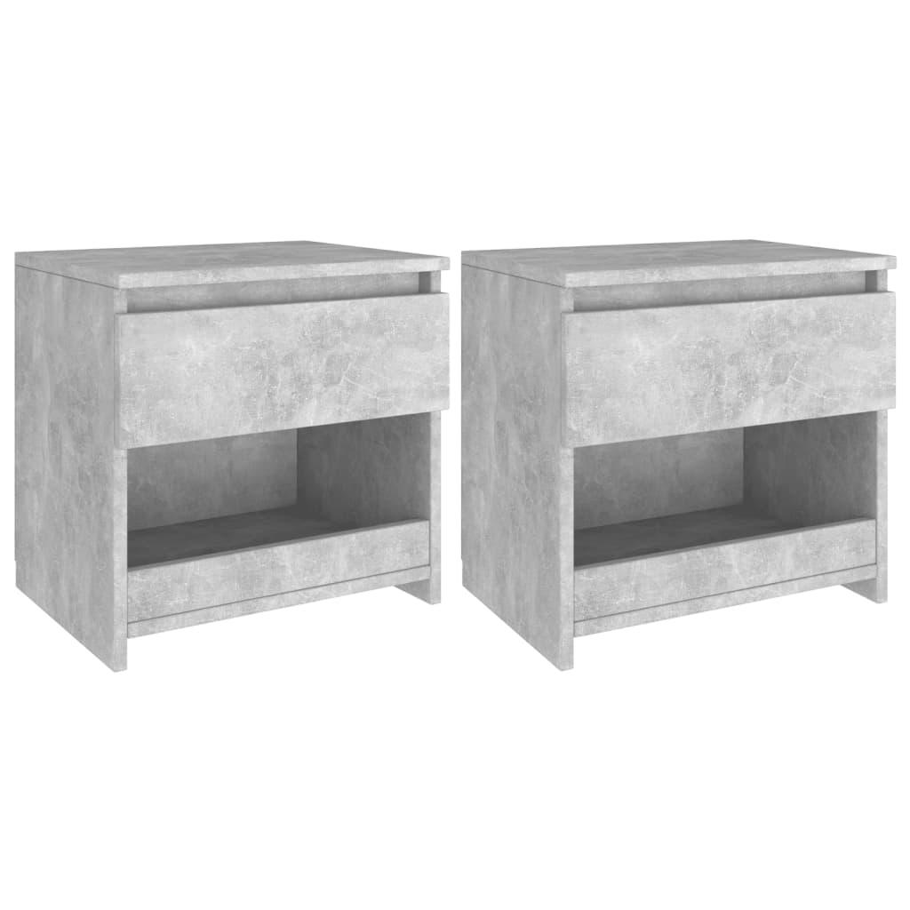 vidaXL sengeborde 2 stk. 40x30x39 cm spånplade betongrå