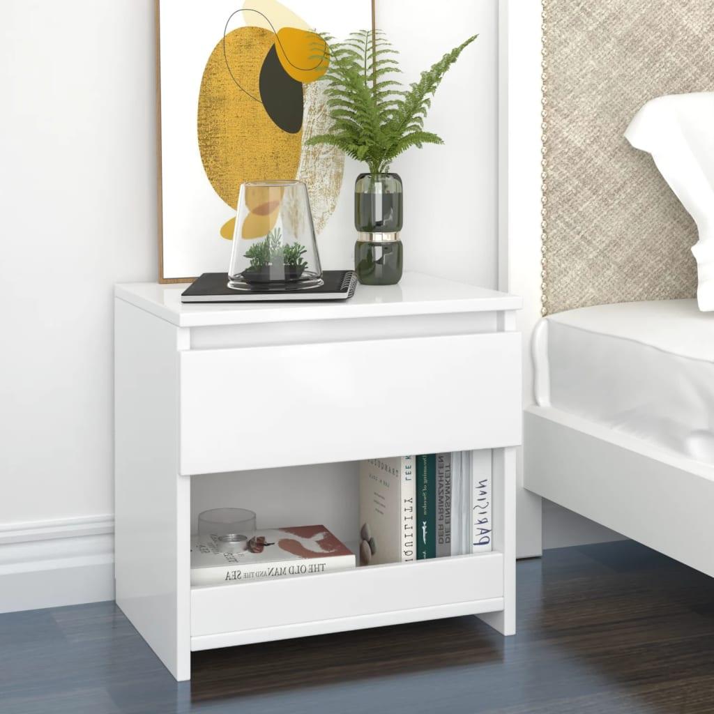 Noční stolek bílý s vysokým leskem 40x30x39 cm dřevotříska