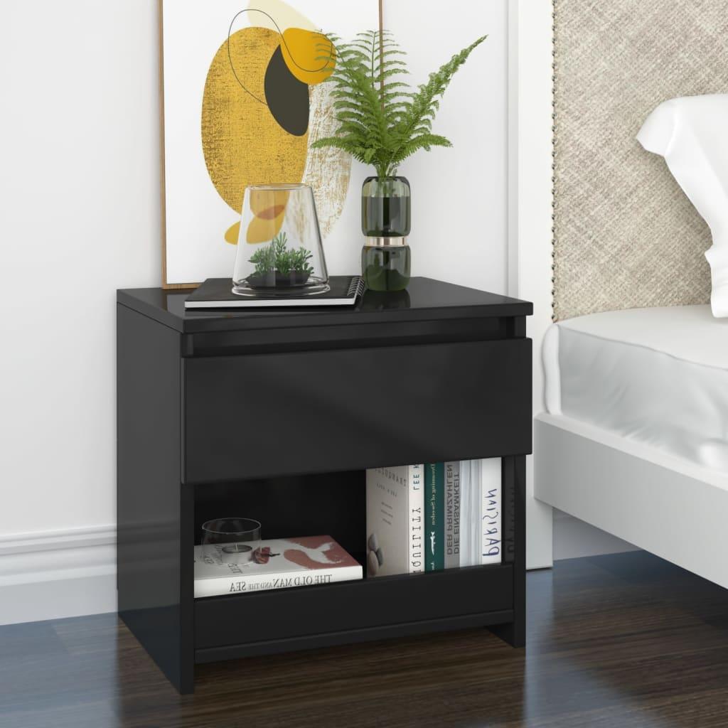 Noční stolek černý s vysokým leskem 40 x 30 x 39 cm dřevotříska