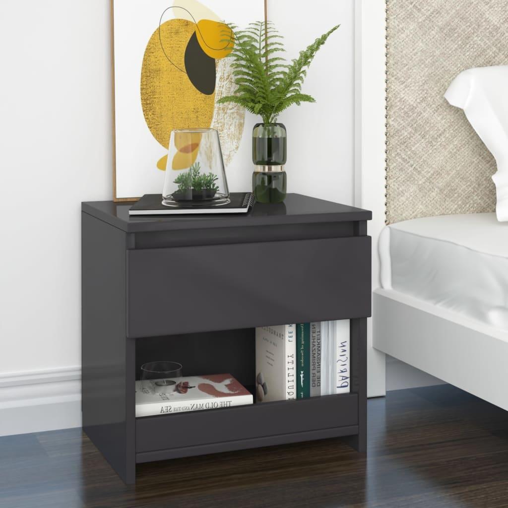 Noční stolek šedý s vysokým leskem 40 x 30 x 39 cm dřevotříska