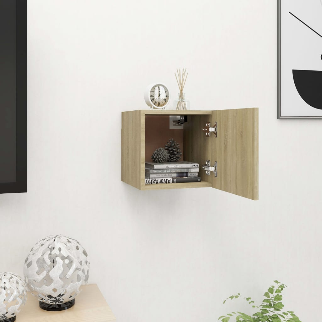 Nástěnná TV skříňka dub sonoma 30,5 x 30 x 30 cm