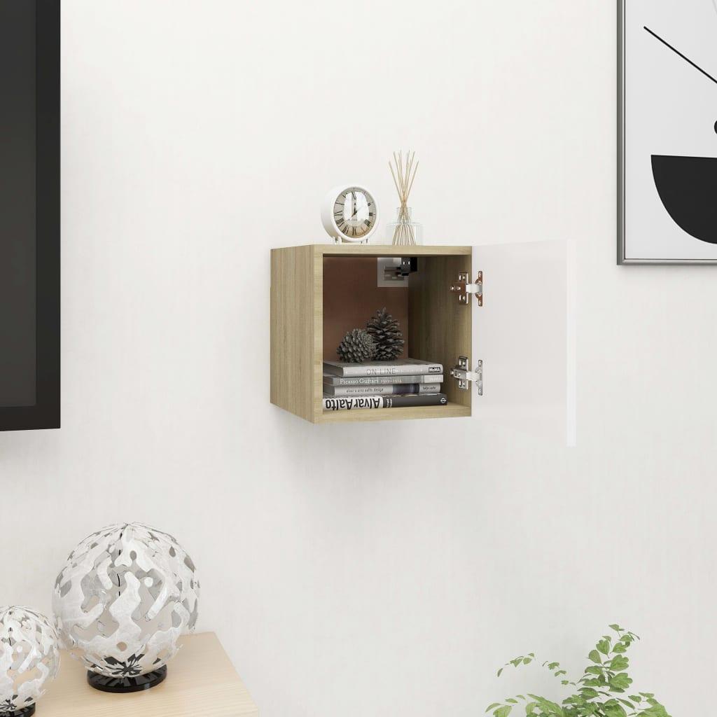 Nástěnná TV skříňka bílá a dub sonoma 30,5 x 30 x 30 cm