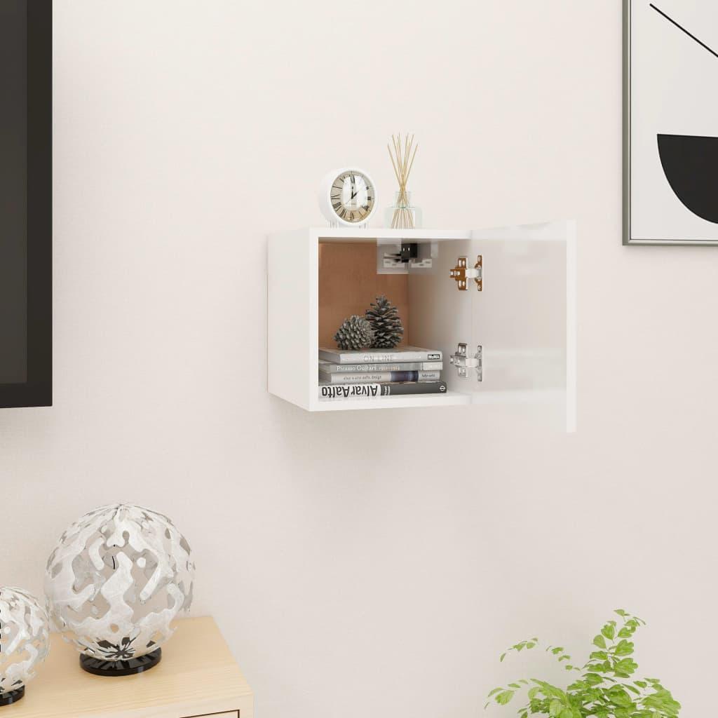 Nástěnná TV skříňka bílá s vysokým leskem 30,5 x 30 x 30 cm