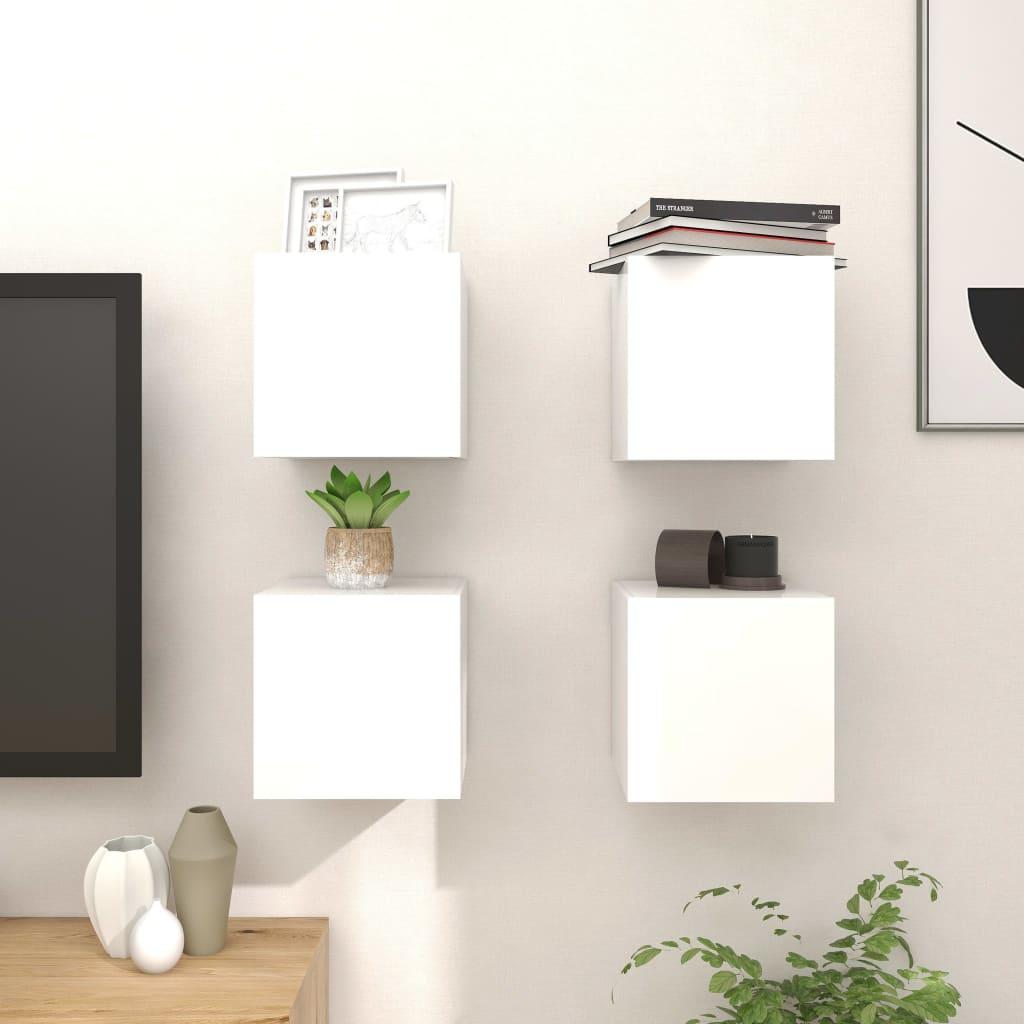 Zidni TV ormarići 4 kom visoki sjaj bijeli 30,5 x 30 x 30 cm