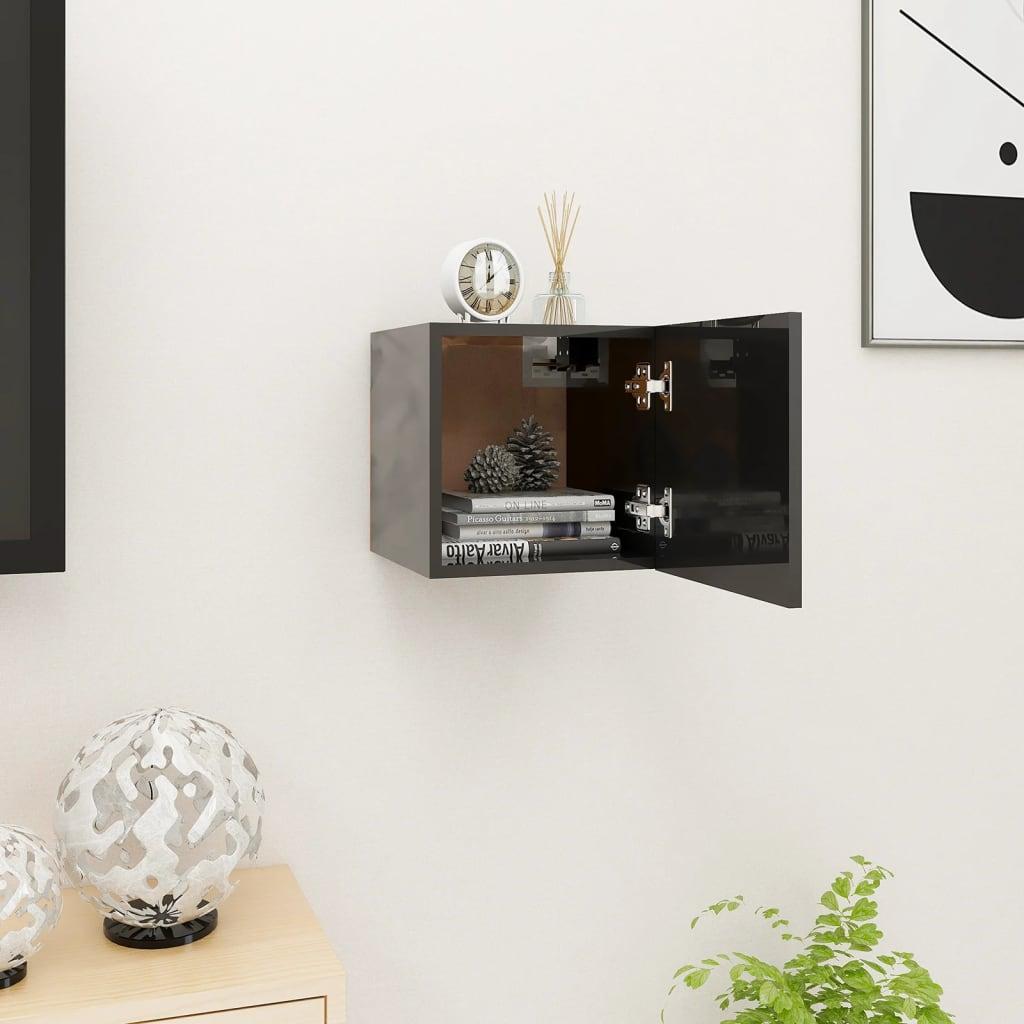 Nástěnná TV skříňka černá s vysokým leskem 30,5 x 30 x 30 cm