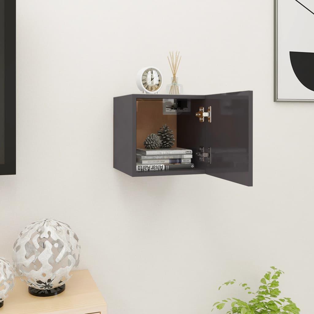 Nástěnná TV skříňka šedá s vysokým leskem 30,5 x 30 x 30 cm