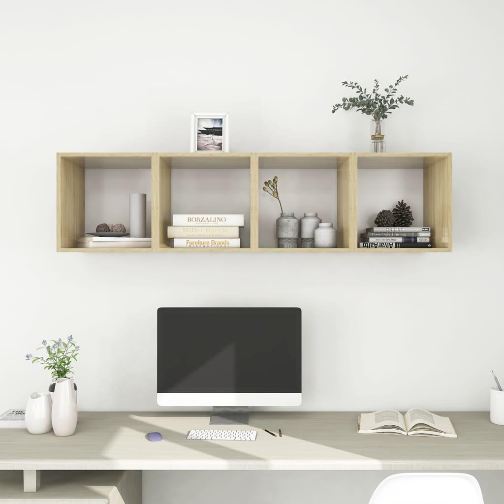 Wandschränke 4 Stk. Weiß Sonoma-Eiche 37x37x37 cm Spanplatte
