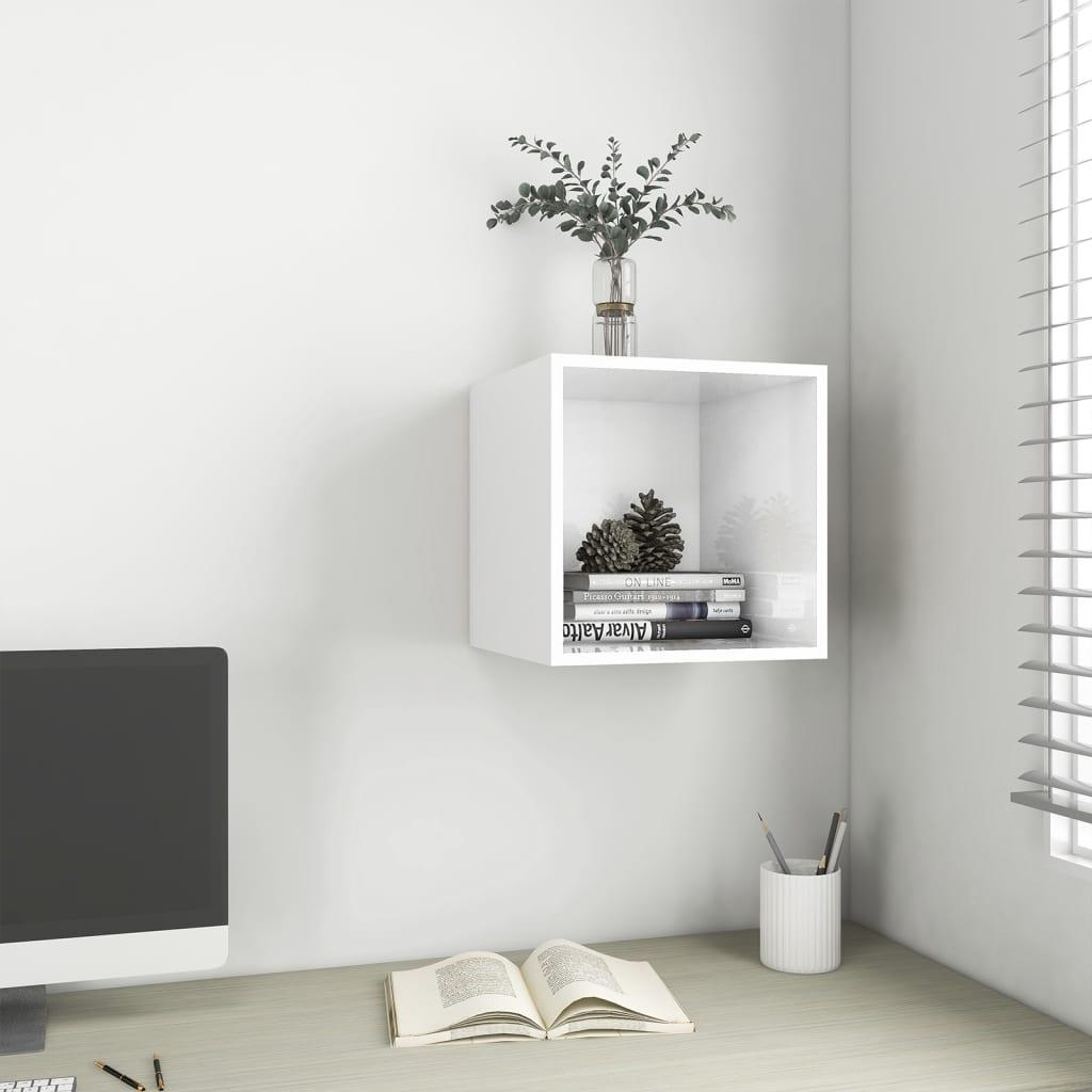 Wandschrank Hochglanz-Weiß 37x37x37 cm Spanplatte
