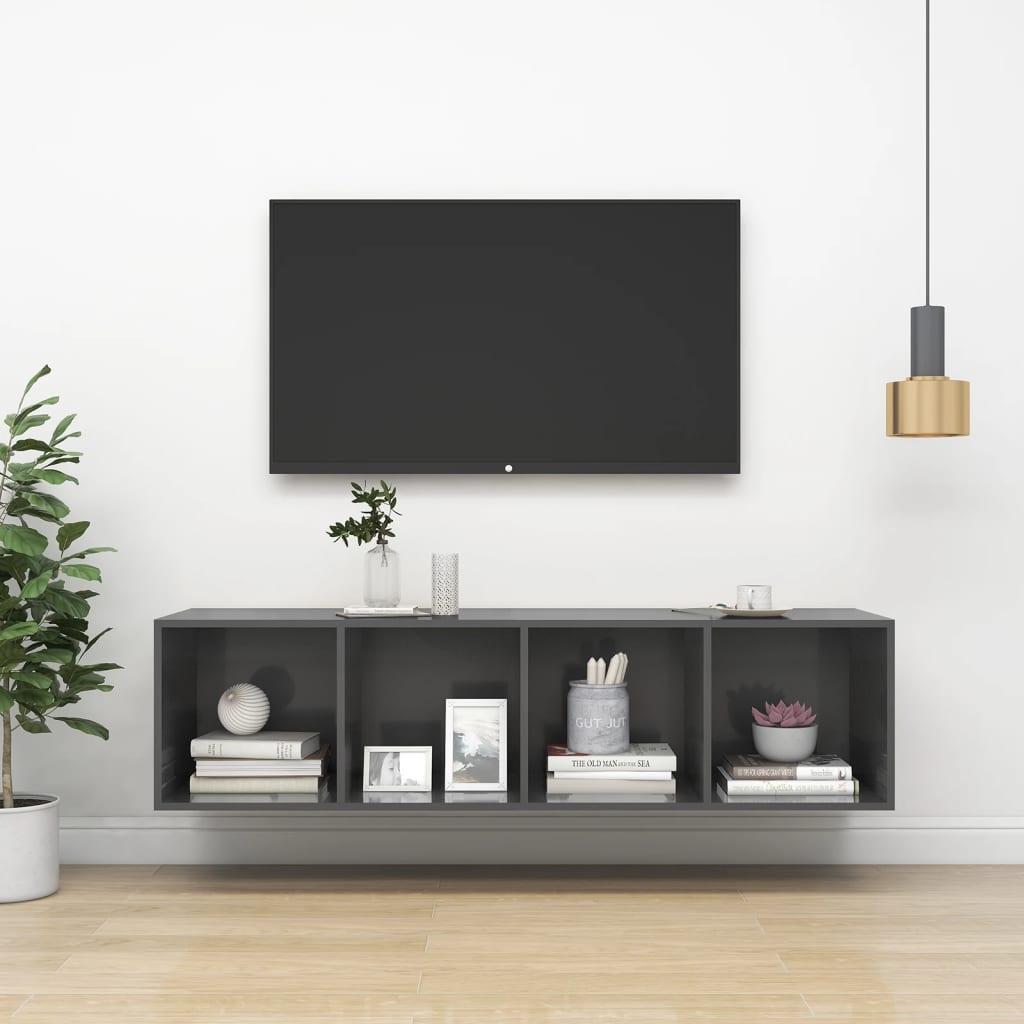 Zidni TV ormarić visoki sjaj sivi 37x 37x142,5 cm od iverice