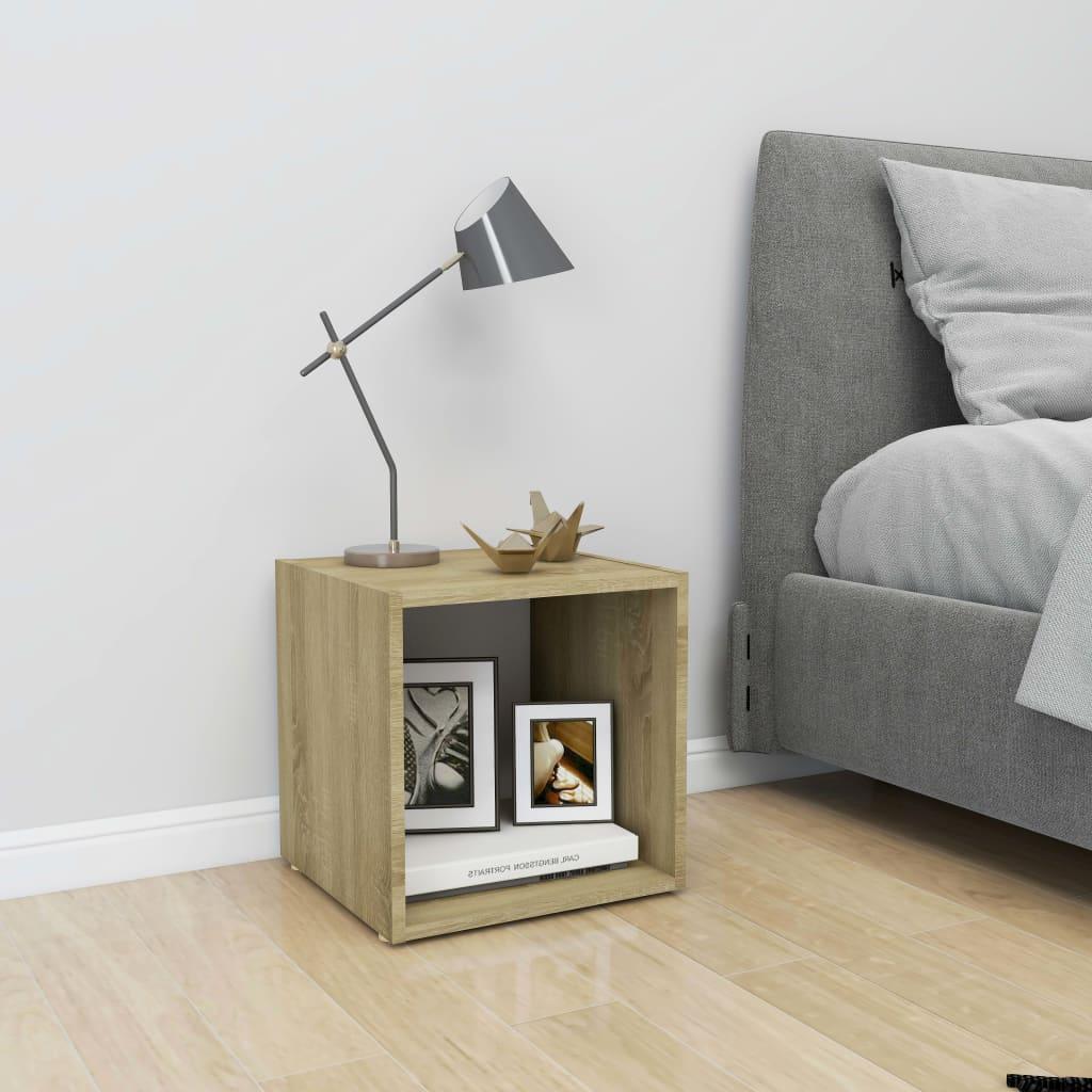 TV stolek bílý a dub sonoma 37 x 35 x 37 cm dřevotříska